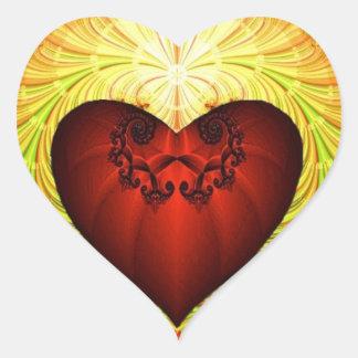 oro y corazón pegatina en forma de corazón