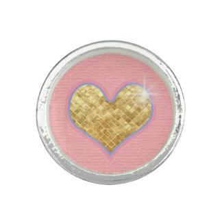oro y corazón rosado anillos con foto