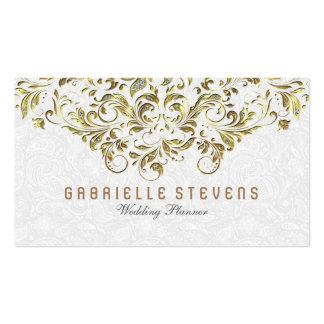 Oro y cordón floral del brillo sobre blanco tarjetas de visita