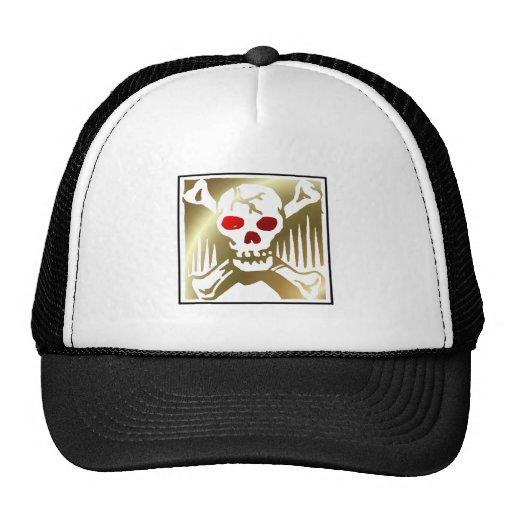 Oro y cráneo rojo y bandera pirata gorras de camionero