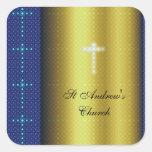 Oro y cruces cristianas azules colcomania cuadrada