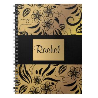 Oro y cuaderno modelado floral del negro cualquier