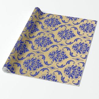 Oro y damasco clásico azul del Zaffre Papel De Regalo
