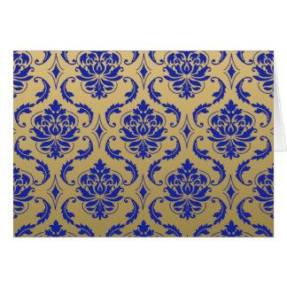 Oro y damasco clásico azul del Zaffre Tarjeta Pequeña