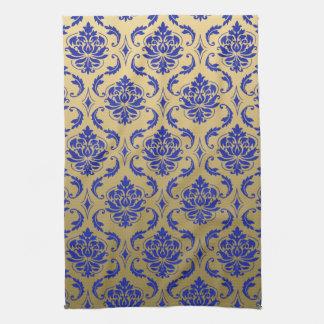 Oro y damasco clásico azul del Zaffre Toalla De Cocina
