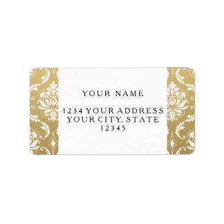 Oro y damasco clásico blanco etiquetas de dirección