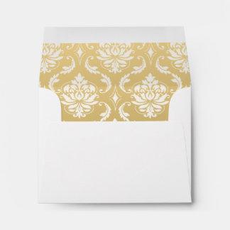 Oro y damasco clásico blanco sobre
