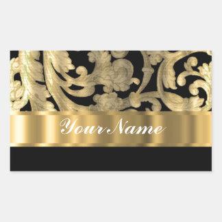 Oro y damasco floral del negro pegatina rectangular