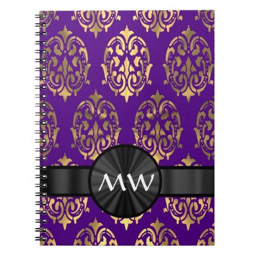 Oro y damasco púrpura libros de apuntes con espiral