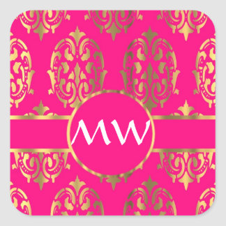 Oro y damasco rosado fucsia pegatina cuadrada
