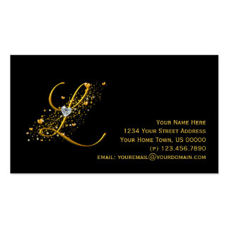Oro y diamantes L inicial tarjeta de visita de Sta