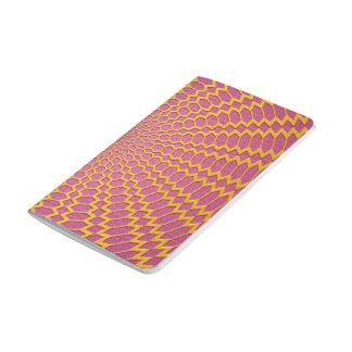 Oro y diseño geométrico radial del rosa cuaderno grapado