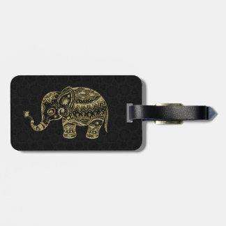Oro y elefante floral del brillo y de las chispas etiquetas de maletas