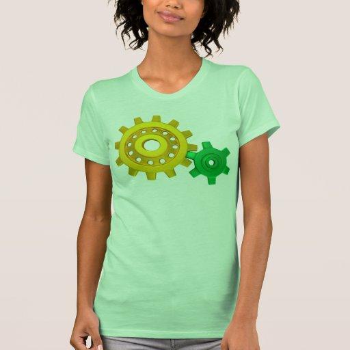 Oro y engranajes verdes camisetas