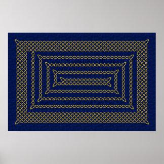 Oro y espiral rectangular céltico azul póster