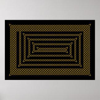 Oro y espiral rectangular céltico del negro póster