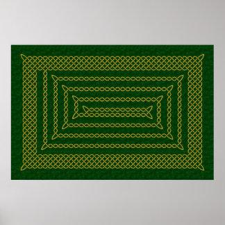 Oro y espiral rectangular céltico del verde póster