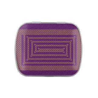 Oro y espiral rectangular céltico púrpura latas de dulces