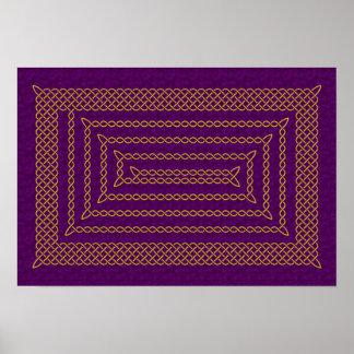 Oro y espiral rectangular céltico púrpura póster