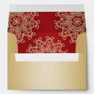 Oro y estilo indio rojo sobres