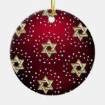 Oro y estrella del cristal del ornamento de David  Adorno