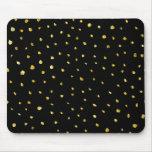 Oro y estrellado metálico rasgada negro de la mouse pads