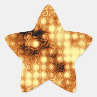 Oro y estrellas que remolinan de Brown Calcomania Forma De Estrella Personalizada