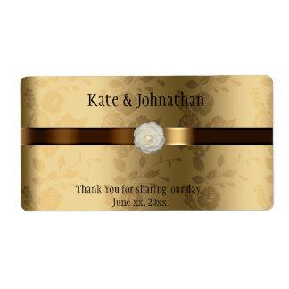 Oro y etiqueta marrón del vino del boda etiquetas de envío