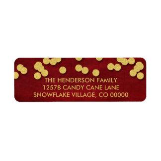 Oro y etiqueta roja del navidad de los puntos del etiqueta de remitente