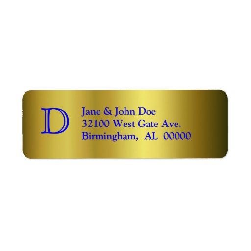 Oro y etiquetas de dirección azules del monograma
