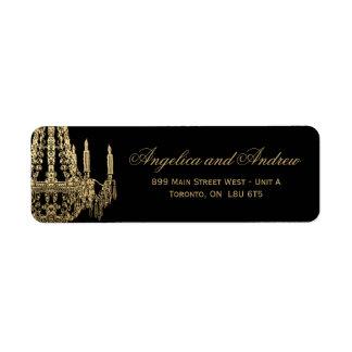 Oro y etiquetas de dirección de Black Chandelier R