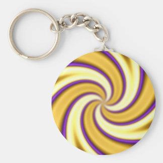 oro y extracto que tuerce en espiral de la púrpura llaveros