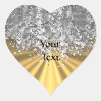 Oro y falso brillo personalizados pegatina en forma de corazón