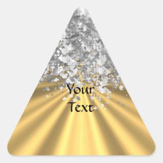 Oro y falso brillo personalizados pegatina triangular