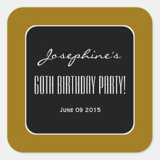 Oro y fiesta de cumpleaños elegante del negro 60.a pegatinas cuadradas