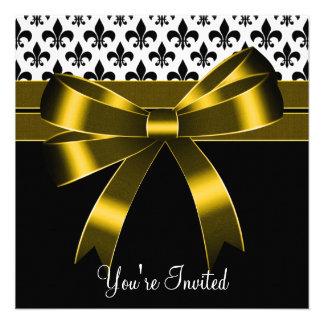 Oro y fiesta negro de la flor de lis invitación personalizada