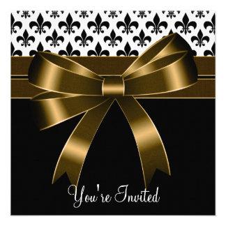 Oro y fiesta negro de la flor de lis invitaciones personalizada