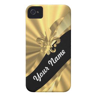 Oro y flor de lis negra iPhone 4 cárcasas