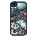 Oro y flores azules del fractal iPhone 5 Case-Mate fundas