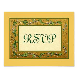 """Oro y flores verdes RSVP del vintage grande Invitación 4.25"""" X 5.5"""""""
