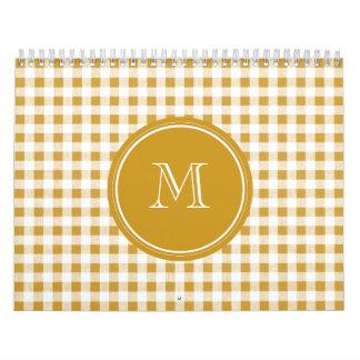 Oro y guinga blanca, su monograma calendarios de pared