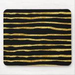 Oro y hoja rasgada negro de las rayas falsa alfombrillas de ratones
