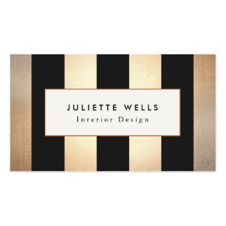 Oro y interiorista elegantes de las rayas negras tarjetas de visita