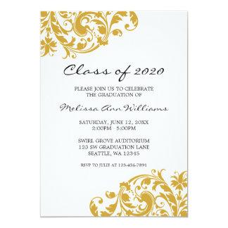 Oro y invitación de la graduación del remolino del