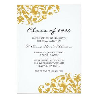 Oro y invitación de la graduación del remolino del invitación 11,4 x 15,8 cm