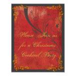 Oro y invitación roja de la fiesta de Navidad