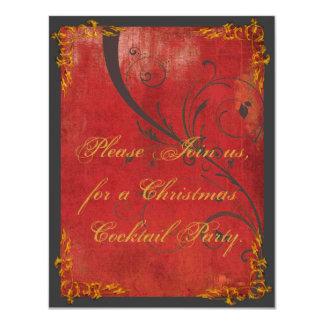 Oro y invitación roja de la fiesta de Navidad Invitación 10,8 X 13,9 Cm