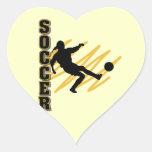 Oro y jugador de fútbol de la hembra del negro calcomanías corazones personalizadas