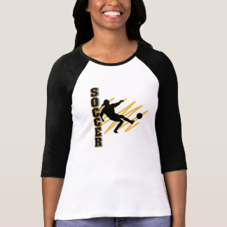 Oro y jugador de fútbol de la hembra del negro polera