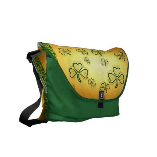 Oro y la bolsa de mensajero verde Shamrocks-2 Bolsa De Mensajería